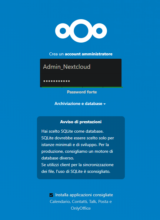 Pagina di primo accesso al servizio NextCloud