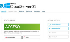 Aruba Cloud: pannello dettagli cloud server